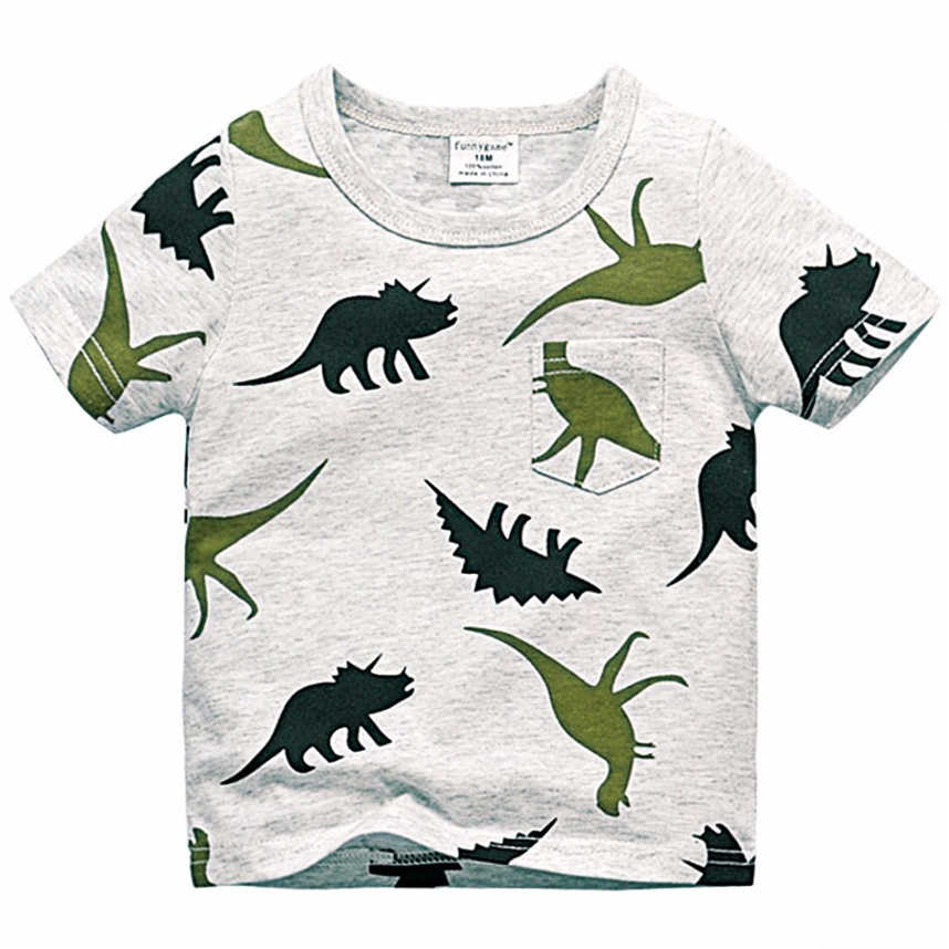 74fd52118 2018 Boys Short Sleeve T Shirts Summer Shirt Kids Baby Children Clothing  Captain Anchors Dinosaur Printed