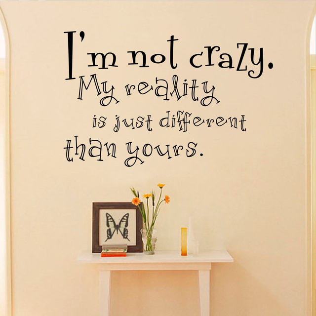 Alice in wonderland wall decals quotes cheshire cat i am not crazy vinyl wall sticker art