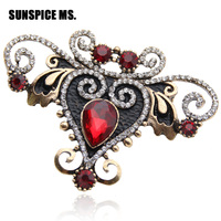 Luxuriant Quality Brand Design Antique Turkish Broaches Brooch Retro Gold Plating Ruby Austria Crystal Brooches Women