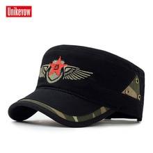 Бренд Unikevow военные шапки со звездой вышитые регулируемые бейсболки с плоским верхом шляпа для мужчин и женщин Militaire gorra