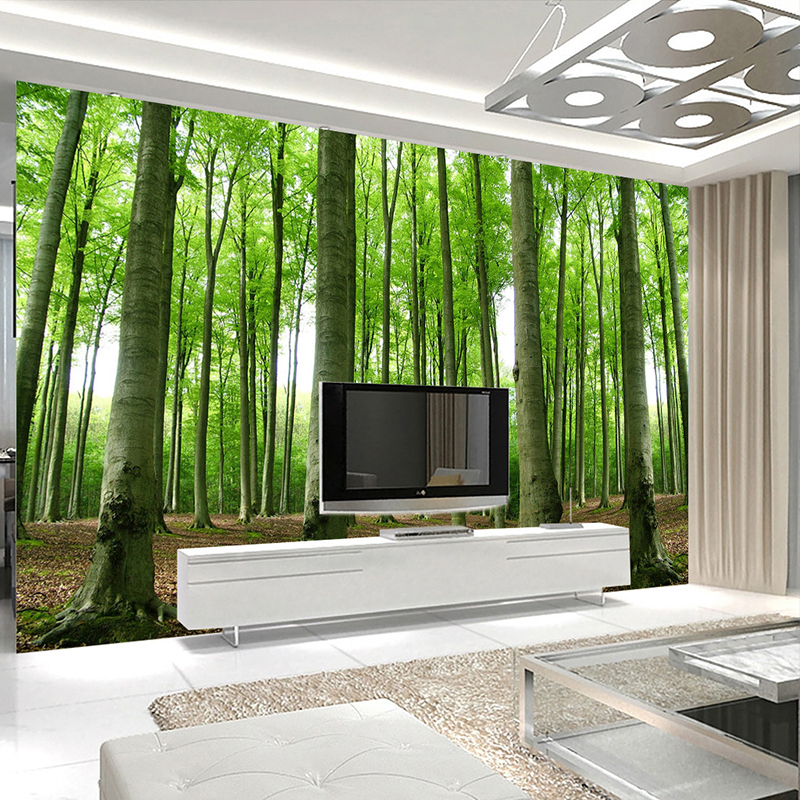 Custom Mural Wallpaper Green Tree Forest Nature Landscape Large Wall Painting 3D Living Room Sofa TV Background Photo Wall Paper