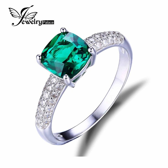 JewelryPalace Cojín Nano Ruso 1.8ct Verde Creado Esmeralda Anillo de Compromiso Solitario Pura Plata de Ley 925 de La Joyería de Lujo