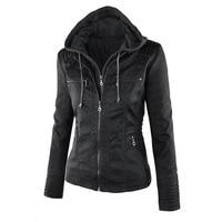 Best Faux Leather Jacket Coat Hoodies Hooded Lapel Zipper Detachable Jacket Coat Novelty