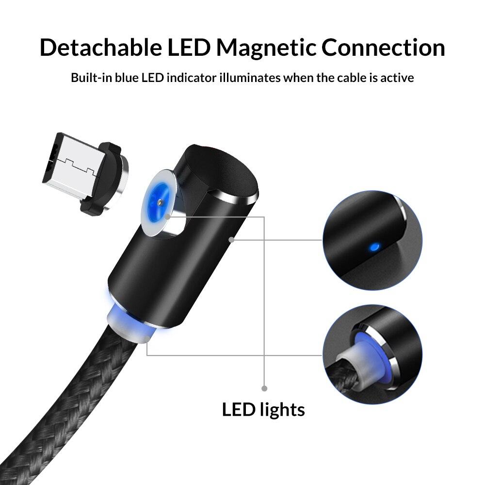 TOPK AM51 90 градусов светодиодный Micro USB кабель Магнитный зарядный кабель для iPhone samsung Xiaomi usb type C Магнитный зарядный кабель адаптер