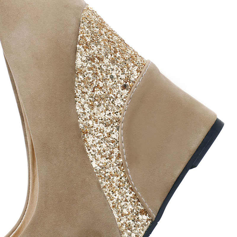 a58bd0434b New Women Casual Platform Wedges Shoes Vintage Flock Glitter Patchwork High  Heels Women Shoes Ladies Slip-on Wedge Wedding Shoes
