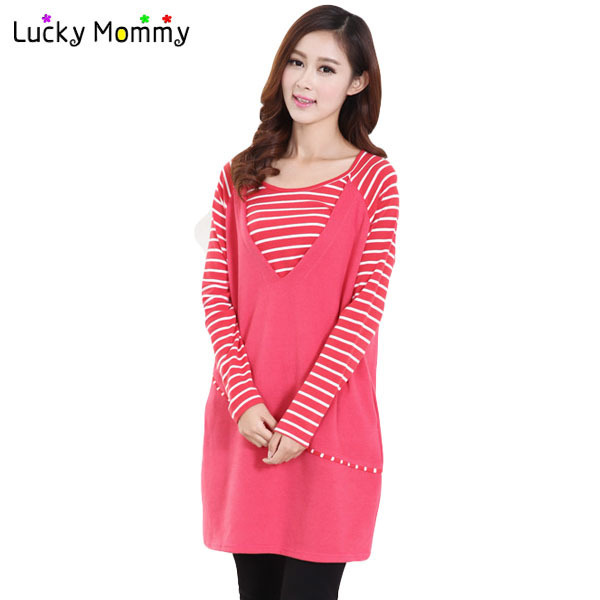 Fall and Winter Striped T shirt Dresses for Pregnant Women Maternity Clothing for Feeding Breastfeeding Dress Nursing Clothes