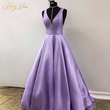 Sexy Purple Evening Dresses 2019 Elegant Satin Gown Long Formal Dress Abiye Prom Party vestido longo festa