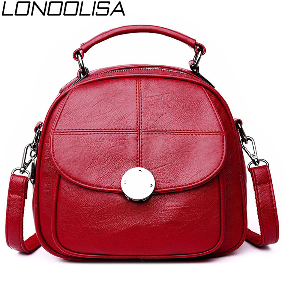 LONOOLISA 3-in-1 Women Leather Backpack Famous Brands Fashion Shoulder Bags For Women Travel Back Pack Sac A Dos Femme Mochila