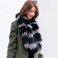 Winter Warm Elegant Women Ring Style Genuine Fox Fur Scarves Two Circles Real Fur Wraps Collars Neck Warmer Shawls