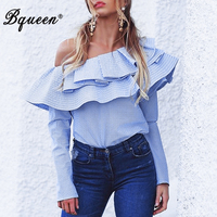 Bqueen 2017 New Spring Cotton Blue Striped Long Sleeve One Shoulder Ruffles Blouse Shirt Tops for Women Lady