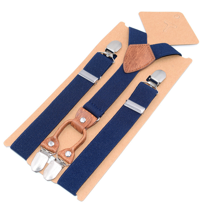 2019 New Children's Striped Brown Leather 4 Clip Straps Children's Strap Clip High Quality Garter Fashion Personality