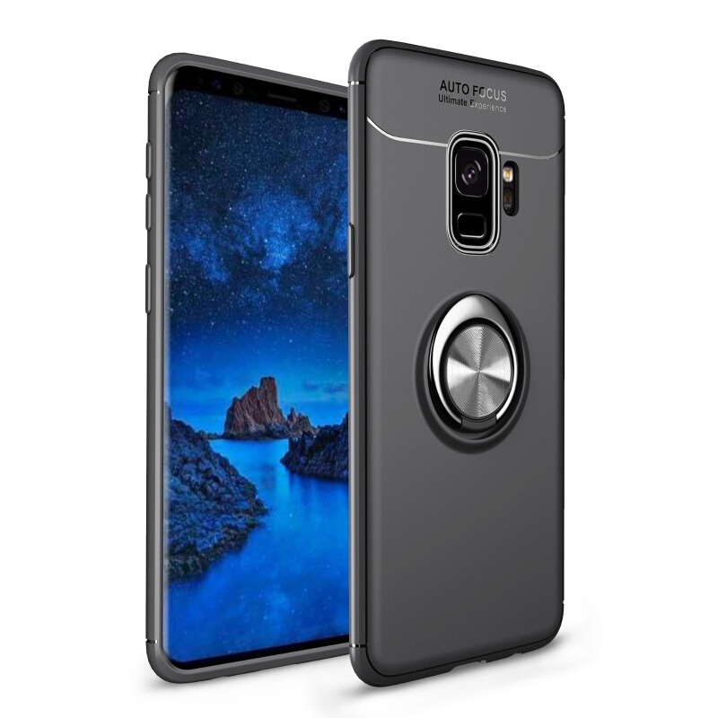 Soft Phone Samsung Galaxy S8 S9 Plus Finger Ring Samsung Note 8 9 Full Cover Protector Silicone Case
