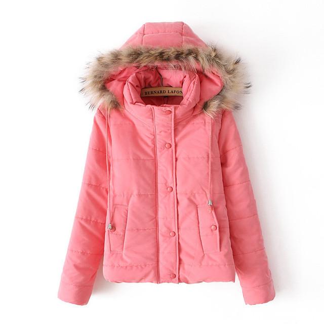 Invierno nuevas mujeres coreanas con capucha de espesor delgado chaqueta de algodón abrigo capa de párrafo corto mujeres parkas