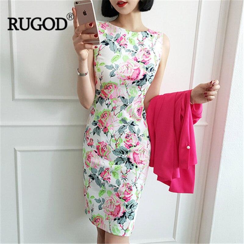 f8dd019a3512 RUGOD mujeres estampado floral vinatge bodycon vestido ajustado cuello  redondo sin mangas vestido ...