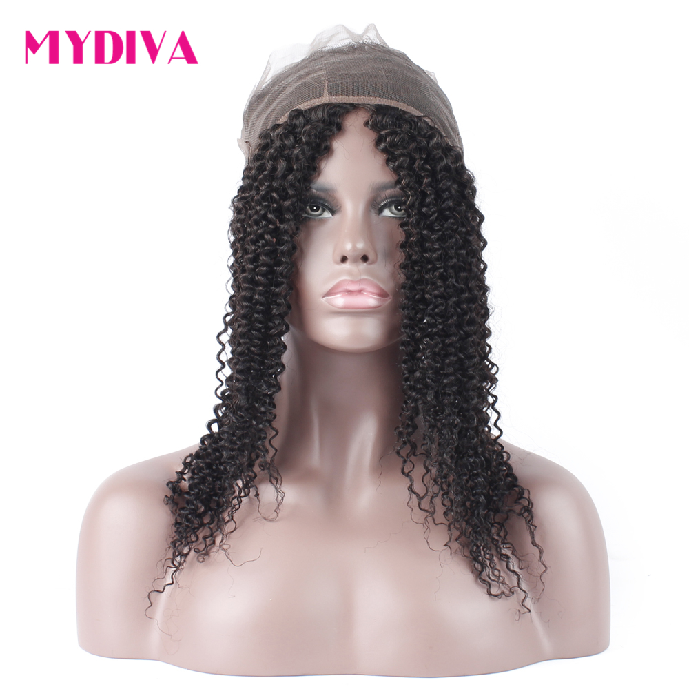 Mydiva 360 Lace Frontal Closure Pre Plucked With Baby Hair Brazilian Curly Non Remy Lace Closure 22*4*2 With Adjustable Straps