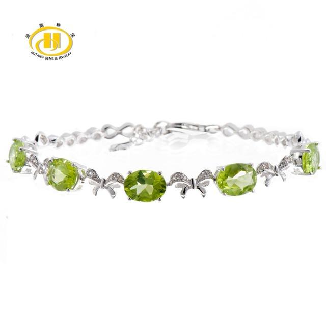 "Hutang Natural Verde Peridot Gemstone Sólido 925 Sterling Silver Chain Link Pulseiras para mulheres Fine Jewelry 7.25"""