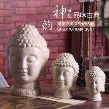 ceramic creative buddha head statue figurine home decor craft room decoration handicraft ornament porcelain gift