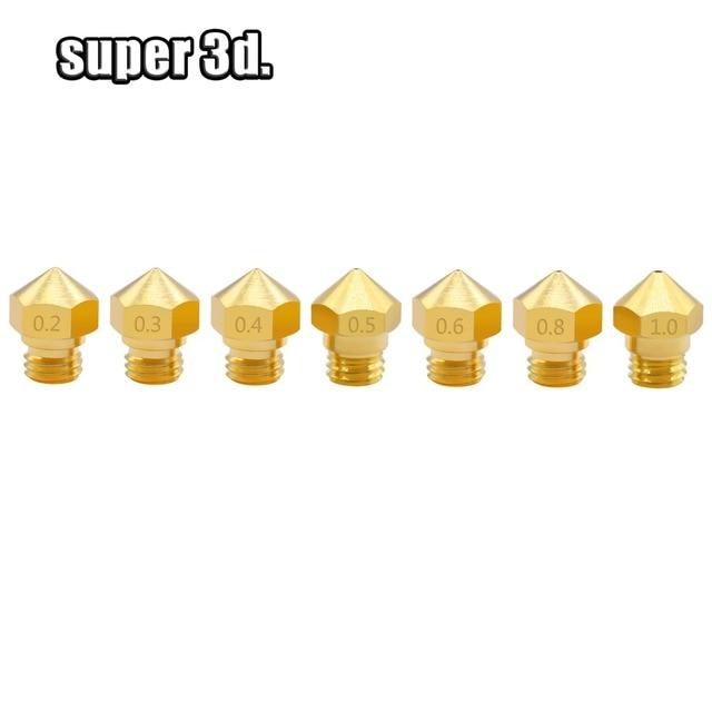 5 個 3D 印刷部品 M7 真鍮ノズル糸 MK10 0.2/0.3/0.4/0.5/0.6/ 0.8/1.0 ミリメートル 1.75 ミリメートル押出機プリンタヘッドアクセサリー