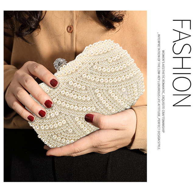 100% Hand made Luxury Pearl Clutch bags Women Purse Diamond Chain white Evening Bags for Party Wedding black Bolsa Feminina 5