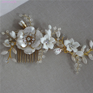 Image 2 - Jonnafe Gold Color Wedding Hair Comb Pins Delicate Porcelain Flower Bridal Headpiece Women Prom Hair Accessories