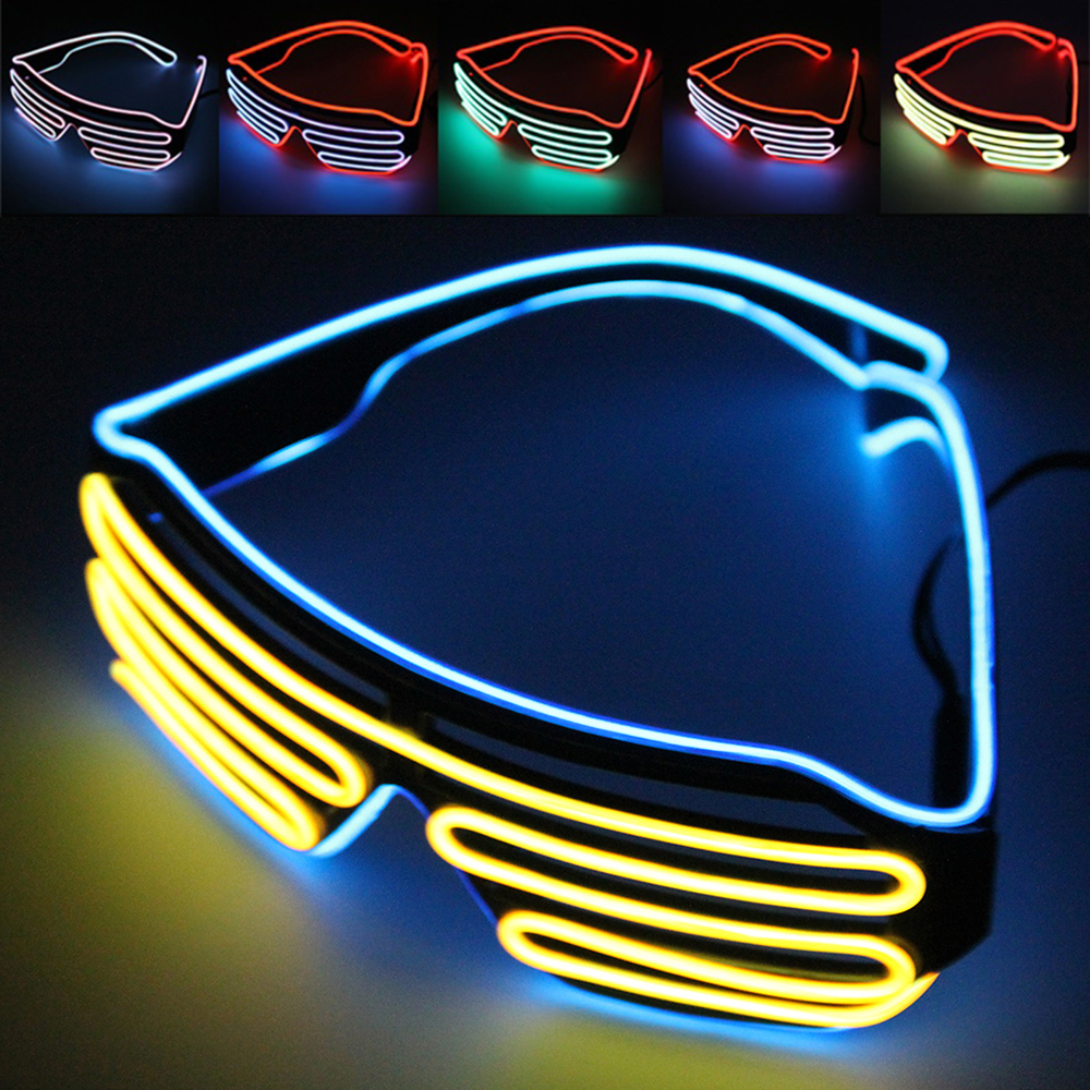 Neon Party Glasses EL Wire Flashing LED Sunglasses Light Up Glasses Rave Costume Party D ...