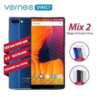Оригинальный Vernee Mix 2 смартфон с двумя камерами 4 ГБ 64 ГБ 6,0 дюймов 18:9 Экран сзади Стекло дизайн Android 7,0 13MP телефона 4200 мАч