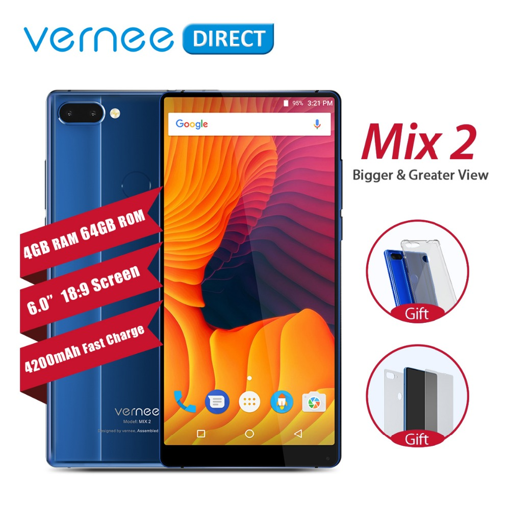 Original Vernee Mix 2 Dual Camera Smartphone 4 gb gb 6.0 Polegada 64 18:9 Tela De Volta Design De Vidro Android 7.0 13MP Celular 4200 mah