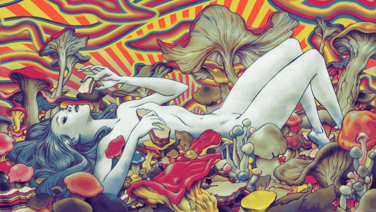 """Psychedelic Trippy Art Fabric poster 24""""x 13"""" Decor 90"""