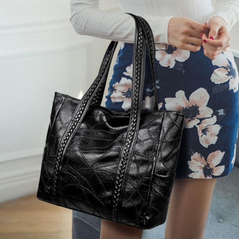 Women\'S Soft Leather Handbag Women Shoulder Bag Luxury Tassel Bucket Bag Women\'S Handbags