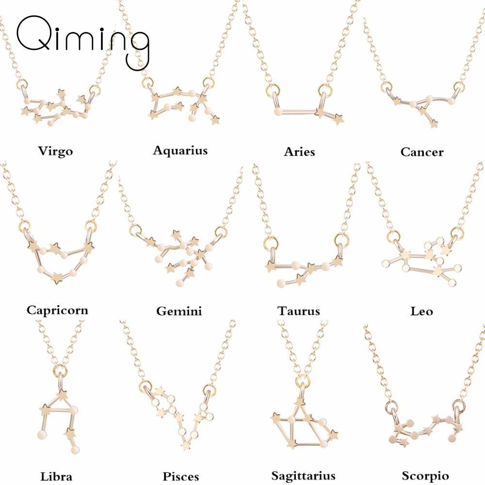 12 Constellation Zodiac Sign Necklace For Women Gold Silver Jewelry Leo Libra Aries Pendant Horoscope Astrology Necklace Gift