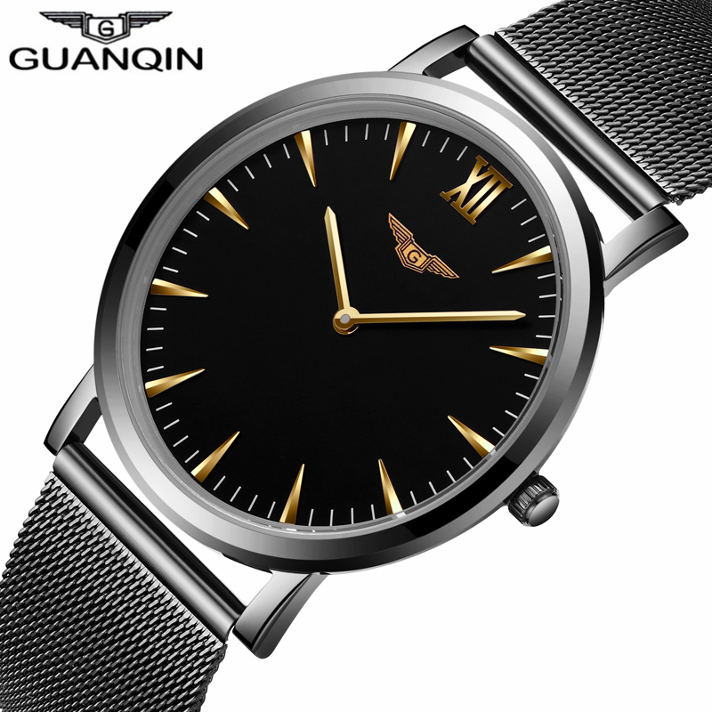 GUANQIN   Mens Watches Top Brand Luxury  Quartz Watch Mesh Band Stainless Steel Ultra Thin Clock Relogio Masculino 2016 julius mens watches top brand luxury stainless steel mesh band gold watch man business quartz watch male relogio masculino