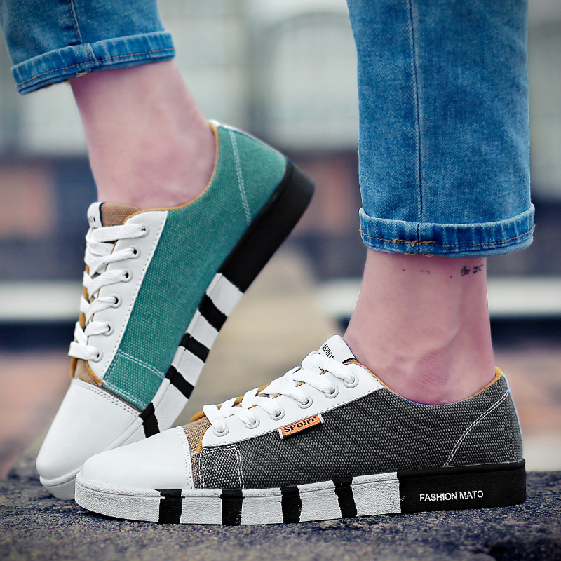 Image 3 - WOLF WHO Fashion Men Denim Canvas Shoes Male Flats Casual Shoes Trendy Man Sneakers Lace up Student Shoes Zapatos Hombre X 059Mens Casual Shoes   -