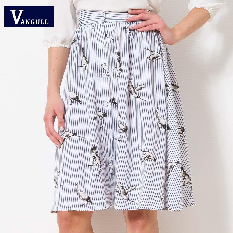 2018 new vangull summer sweet lady woman casual high-waist Japan style striped button animal crane cotton knee-length skirt