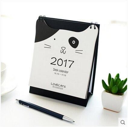 Cute kitten calendar desktop calendar 2017 paper gift ideas kawaii ...