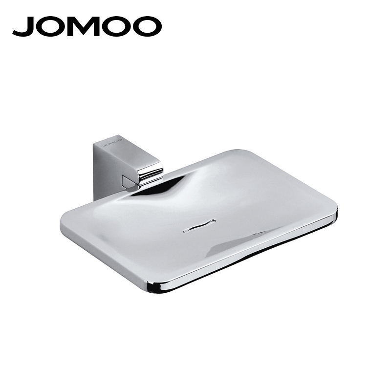 JOMOO Zinc Alloy Wall Mounted Soap Dish Soap Holder Box Soap Basket Rectangle Dish With Removable Holder Bathroom Accessories jade luxury bathroom soap rack rose gold copper soap net european style bathroom glass marble soap dish