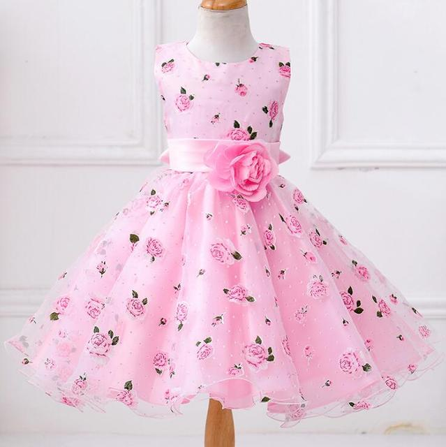 0ecd23b47229 Kids Frocks Girls Flowes Dress Formal Floral Print Party Ball Gown ...