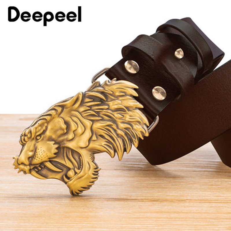 Deepeel 1Pc Tiger Head Solid Brass Metal Belt Buckle Men Women Belt Head For Belt 37-38mm DIY Leather Craft Jeans Accessories