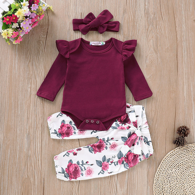 Solid color Baby Girl Clothes Set For Newborns 0-2Years Pure Red Tops+Rose Print Pant+Soft Headband Baby Set Fast Shipping D20 | Happy Baby Mama