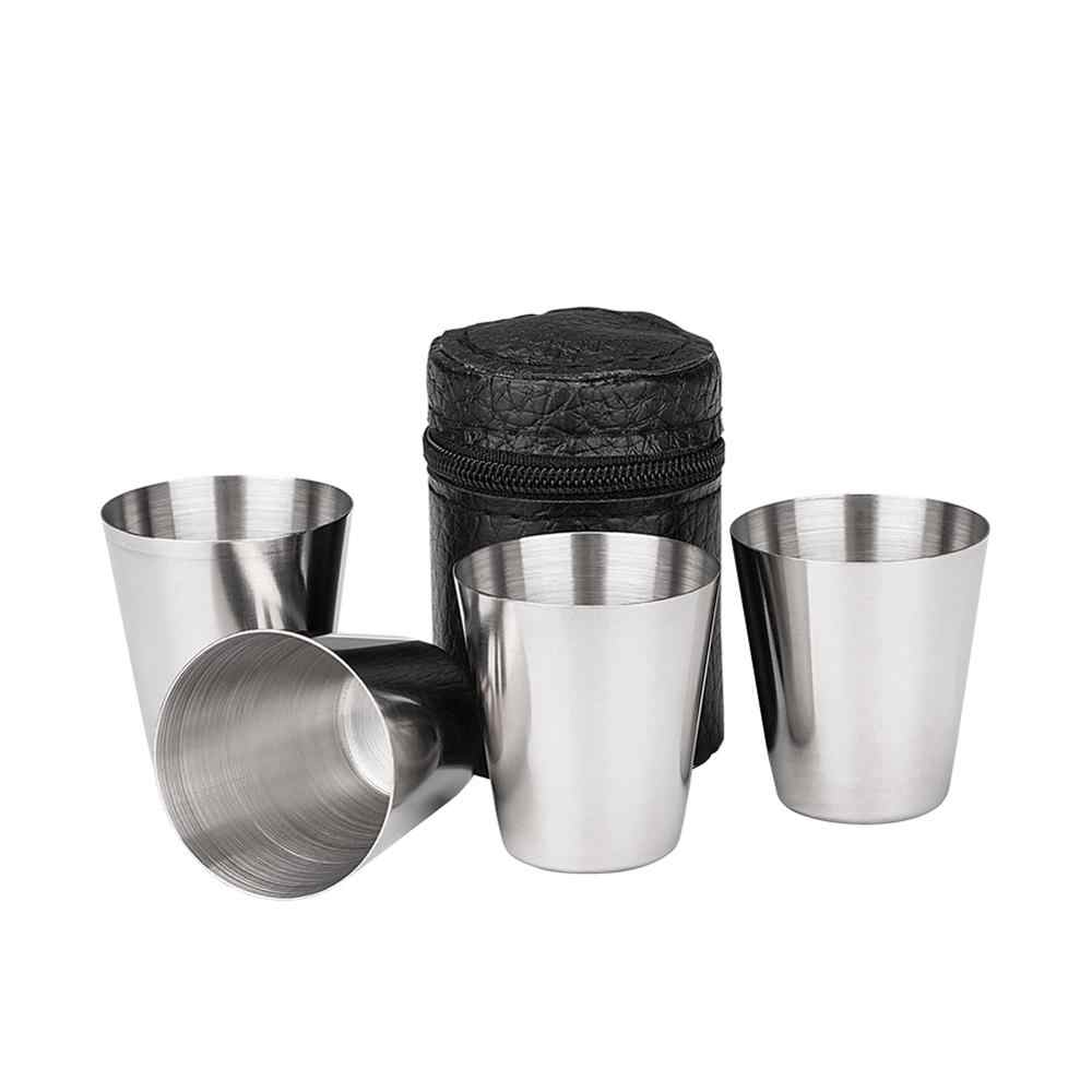 4 Stks/set Mini Draagbare 30 Ml Rvs Wijn Cup Drinking Shot Glazen Thuis Bar Bier Whiskey Cup Voor Camping reizen