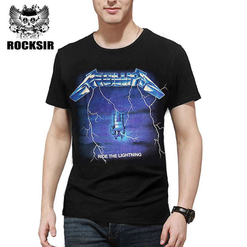 334f5cbb31eb Rocksir 2017 fashion METALLICA ride the lightning men's t-shirt rock band  printed t shirts men punk short sleeve streetwear Tees
