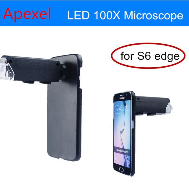 Nuevo mini portable de la joyería led 100x microscopio lupa zoom focus lupa lupa con el caso para samsung s6 edge cl-53-1