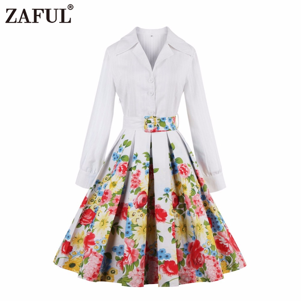 ZAFUL vintage dress white floral print party dresses style ...