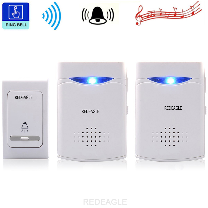 REDEAGLE Wireless Doorbell 38 Tunes Chimes Digital Remote Control Door Bell LED Receiver 1V2 Doorbells V006B2 mylb digital wireless doorbell door bell wireless doorbell 32 tunes remote control durable