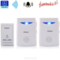 Redeagle 무선 초인종 38 tunes chimes 디지털 원격 제어 도어 벨 led 수신기 1v2 초인종 v006b2|doorbell wireless|doorbell doorbells wirelessdoorbell chimes wireless -