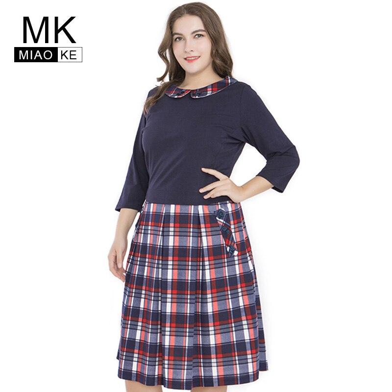 Mifairy 2018 robe de grande taille femmes vêtements mode manches courtes col de poupée mi-longue plissée robe à carreaux 4XL 5XL