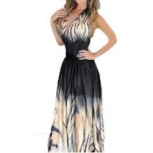 Yaz Hanım V Boyun Tiger Stripe Uzun Elbise Bayanlar Vintage Backless Maxi Sundress