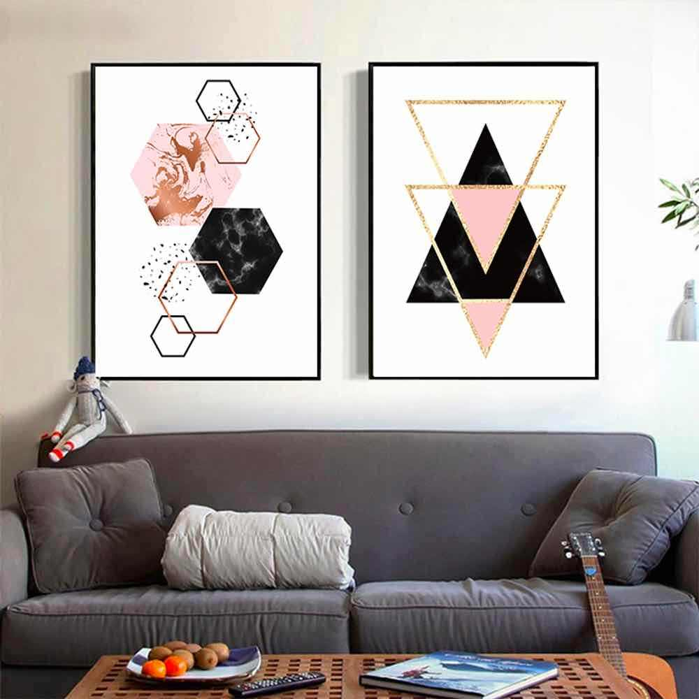 HAOCHU Geometrical Pattern  Colorful Canvas Painting For Living Room Home Decor Painting Print Poster Simple Nordic Wall Picture