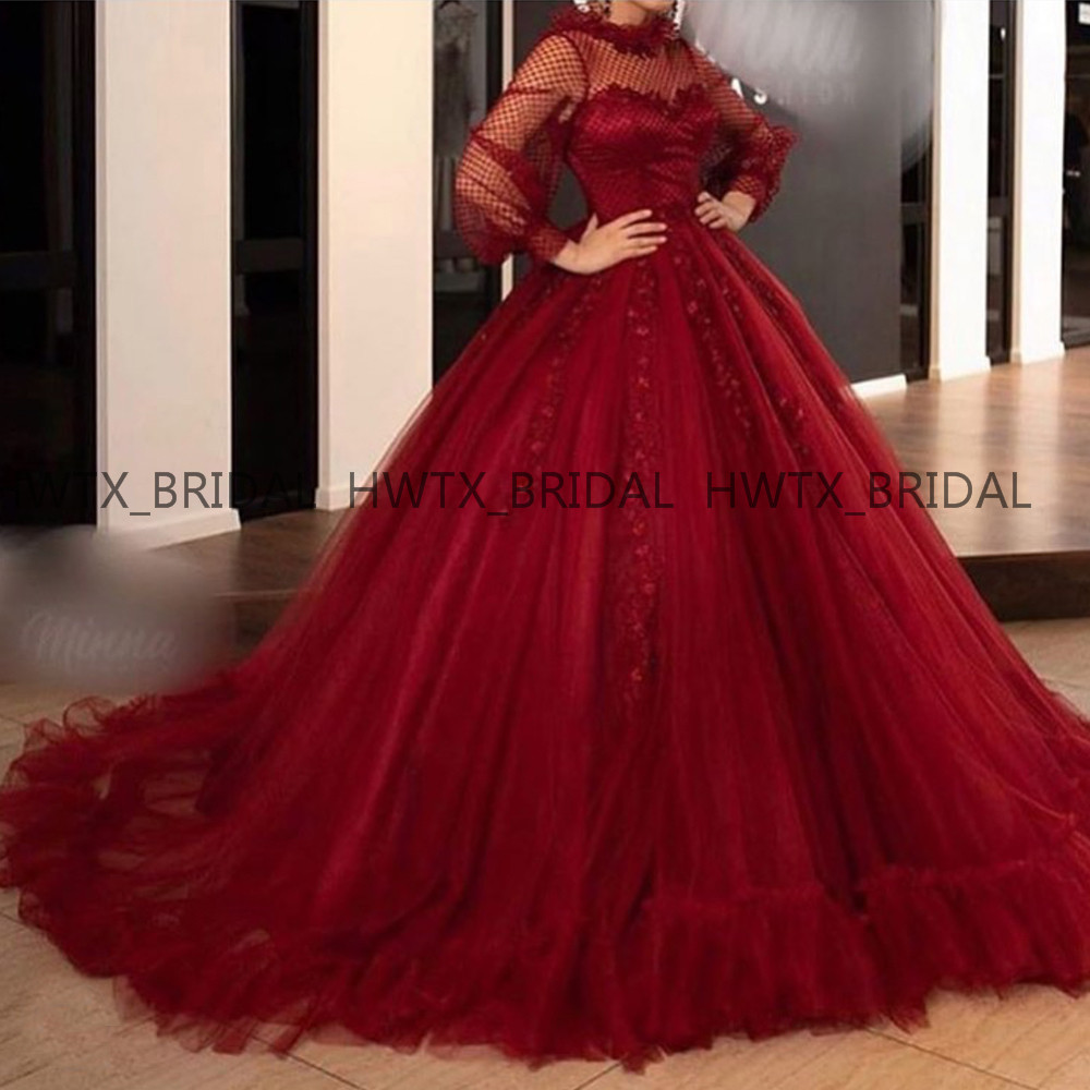 Burgundy Long Sleeves Ball Gown   Evening     Dress   Plus Size Puffy Tulle Long Princess Prom   Dresses   2019 Sweet 16 Party Gown Custom