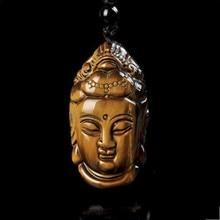 купить 100% natural yellow tiger jade hand carved Guanyin Buddha Pendant pendant head man lucky talisman amulet rope free shipping дешево