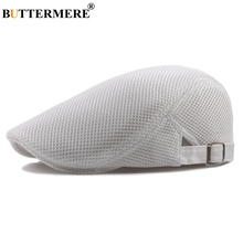 BUTTERMERE Mesh Beret Summer Flat Caps Women White Ventilated Duckbill Hat Unisex Casual Adjustable Classic MenS Directors